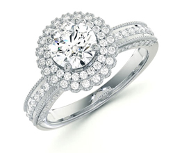 'Versailles' double halo vintage feel diamond engagement ring
