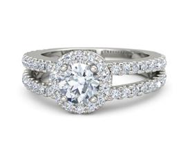 'Adelaide' halo palladium engagement ring
