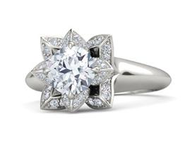 Lotus palladium halo engagement ring
