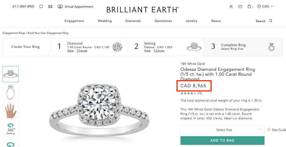 benchmark price for buying an engagement ring in BC