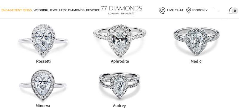 Diamonds pear halo diamond rings