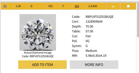diamonds no price