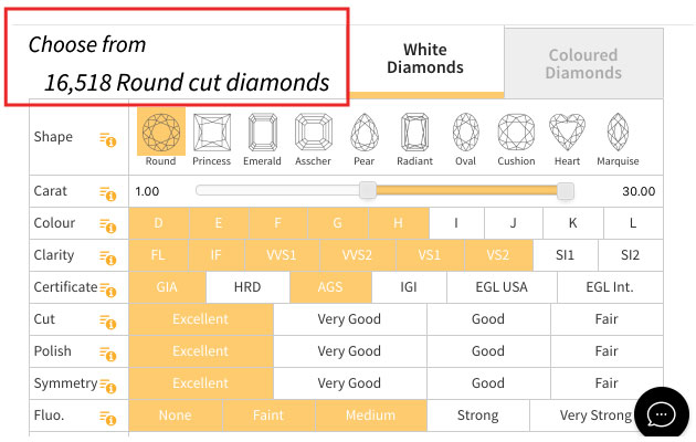 diamonds selection