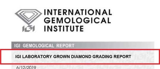IGI lab grown diamond report