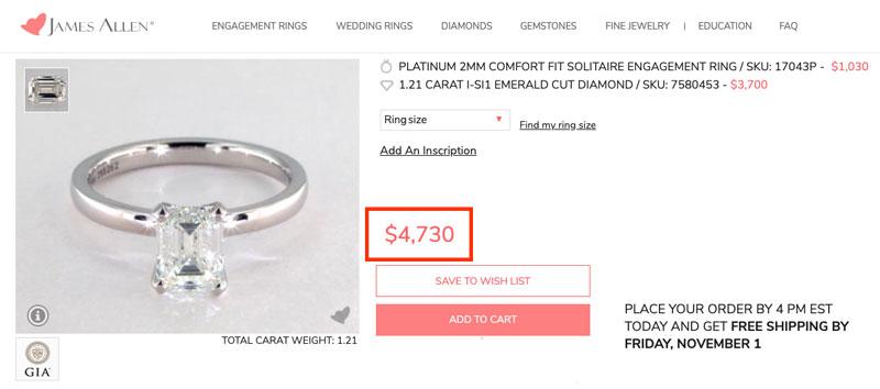 carat emerald cut diamond retail price