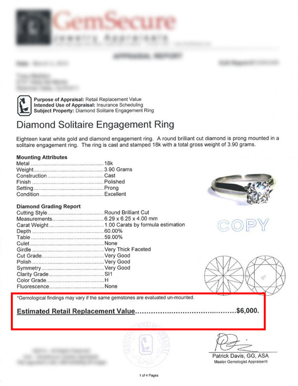 diamond ring appraisal certificate
