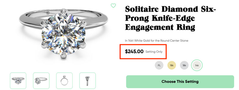 simple solitaire engagement ring setting