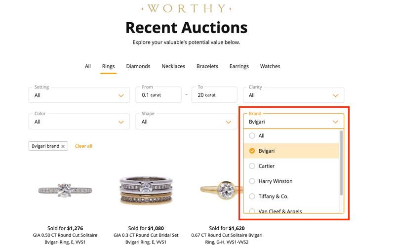 worthy recently sold designer diamond rings