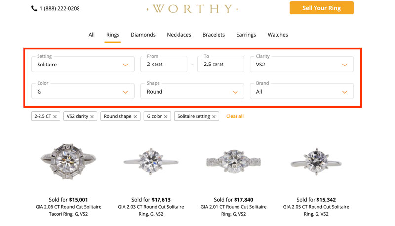 worthy recently sold diamond rings
