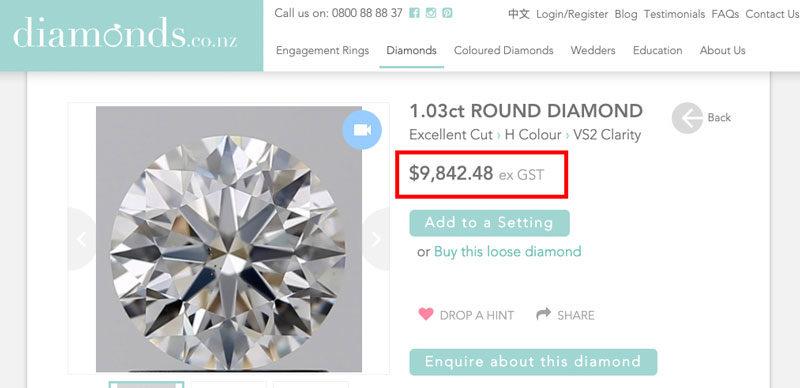H Vs round brilliant diamond price new zealand