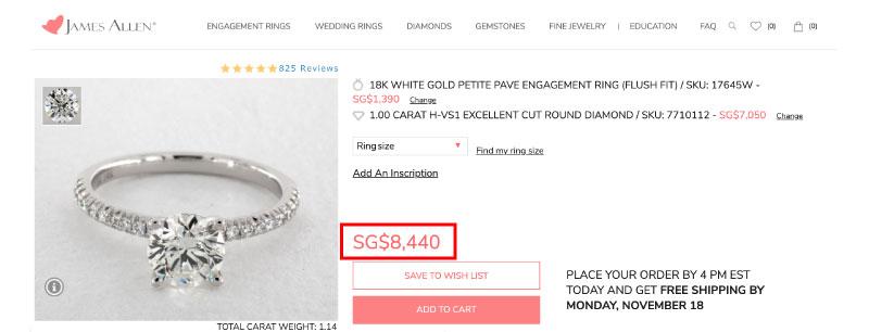 diamond ring importing singapore comparison price