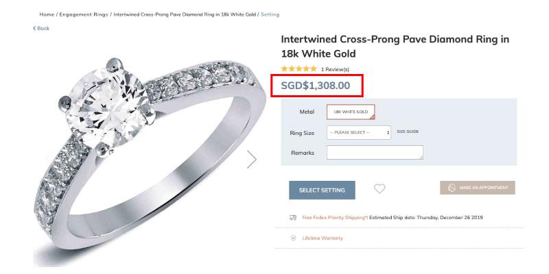 white gold pave diamond ring singapore