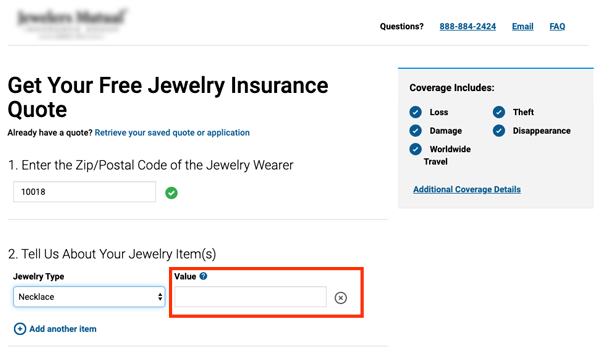image of a jewelry insurance website requesting a valuation