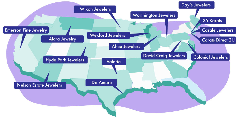 map showing the location of each of the jewelers who contributed to the article about 2020 engagement ring trends