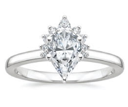 Crescent Pear Diamond Halo Ring