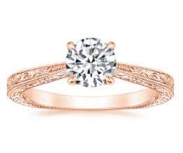 'Elsie' Hand-engraved Rose Gold Diamond Ring