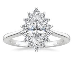 Sunburst Halo Marquise Ring