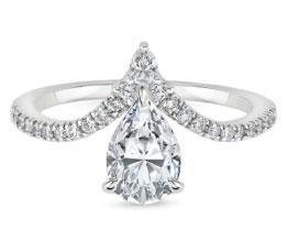 'Nouveau' White Gold Pear Engagement Ring