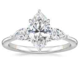 'Opera' Marquise Three Stone Ring