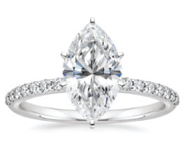 'Petite' Shared Prong Marquise Solitaire