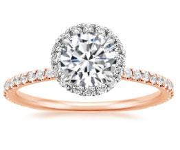 'Waverley' rose gold halo engagement ring