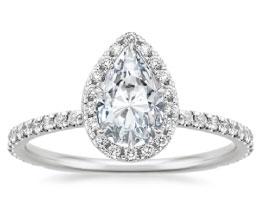 'Waverley' Pear Halo Diamond Ring