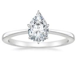 'Elle' Pear Diamond Solitaire Ring