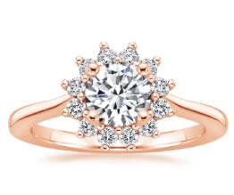 Sunburst Halo Diamond Ring