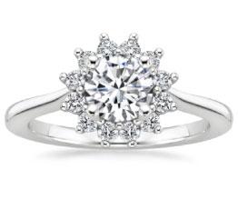 Sunburst Diamond Engagement Ring